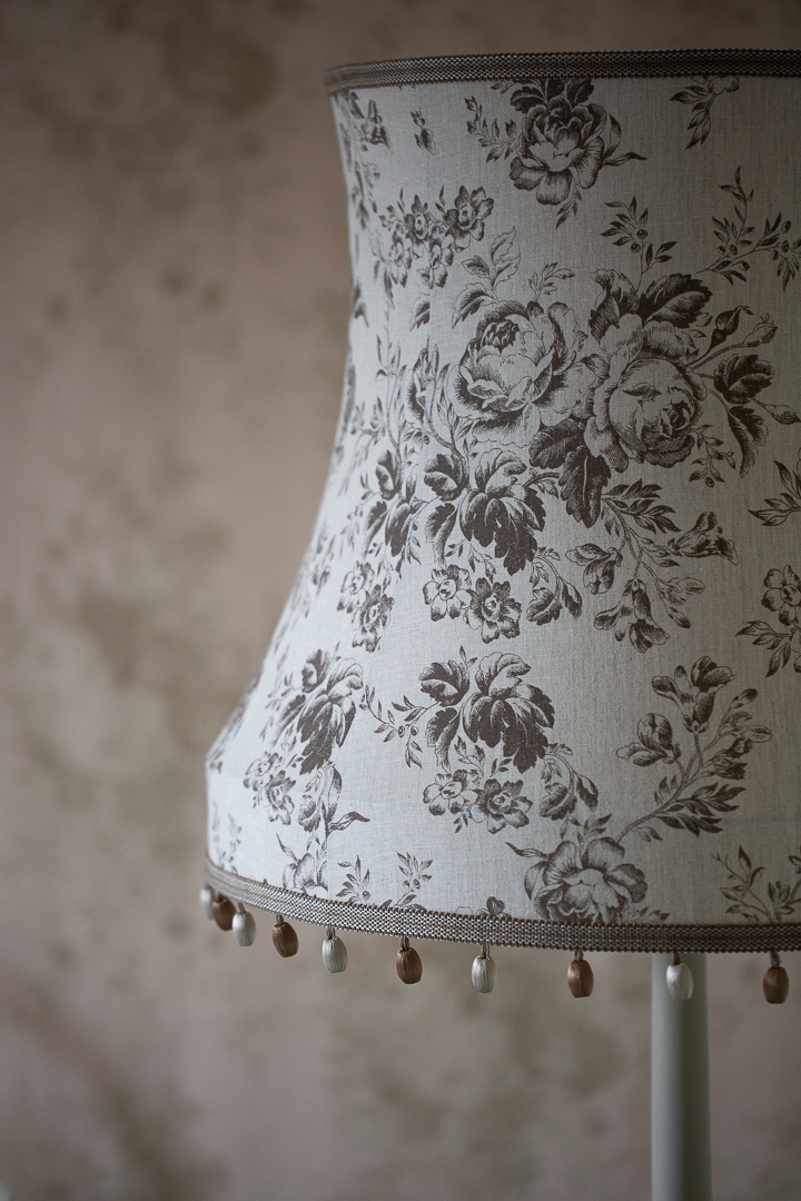 Cabbages & Roses 'Paris Rose Charcoal' Traditional Bowed Drum Lampshade