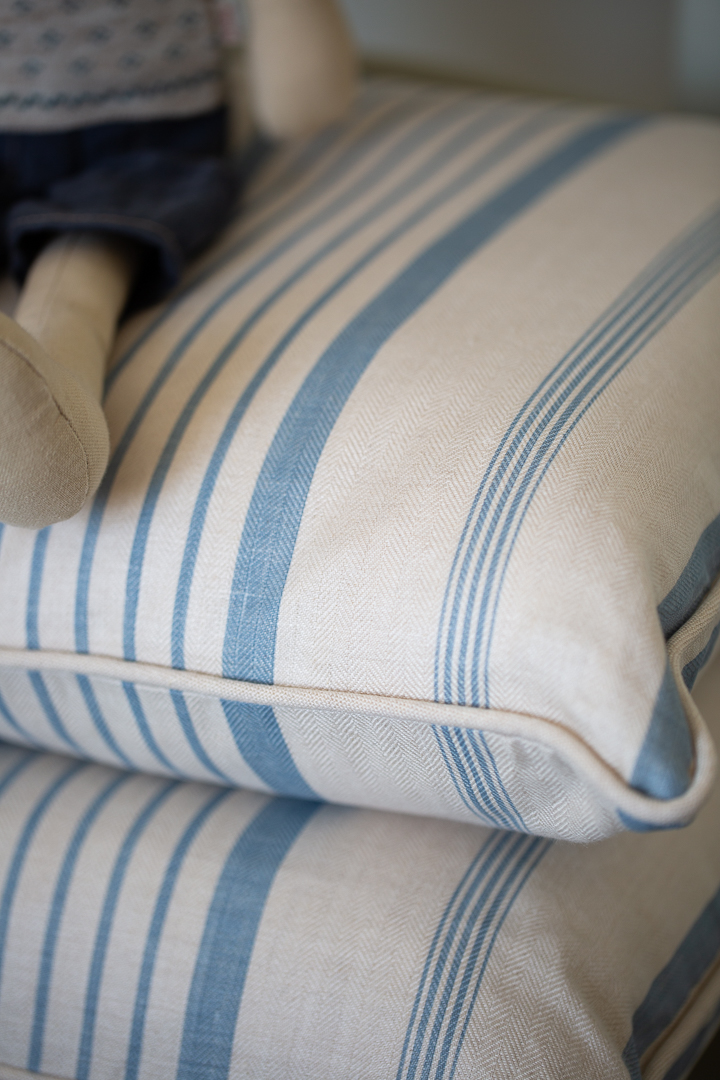 Kate Forman Ticking Oblong Cushions in Blue